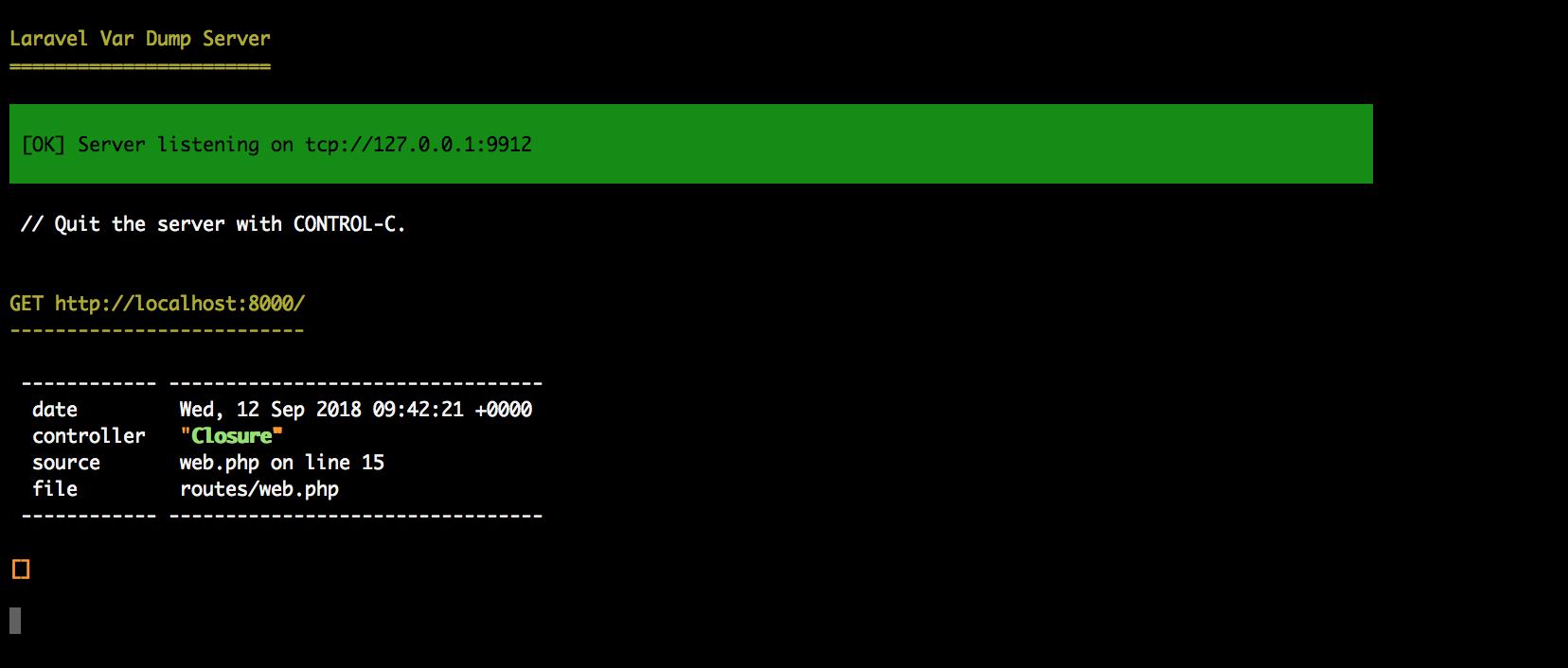 Laravel 5.7 dump server